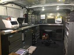 Inside of locksmith van